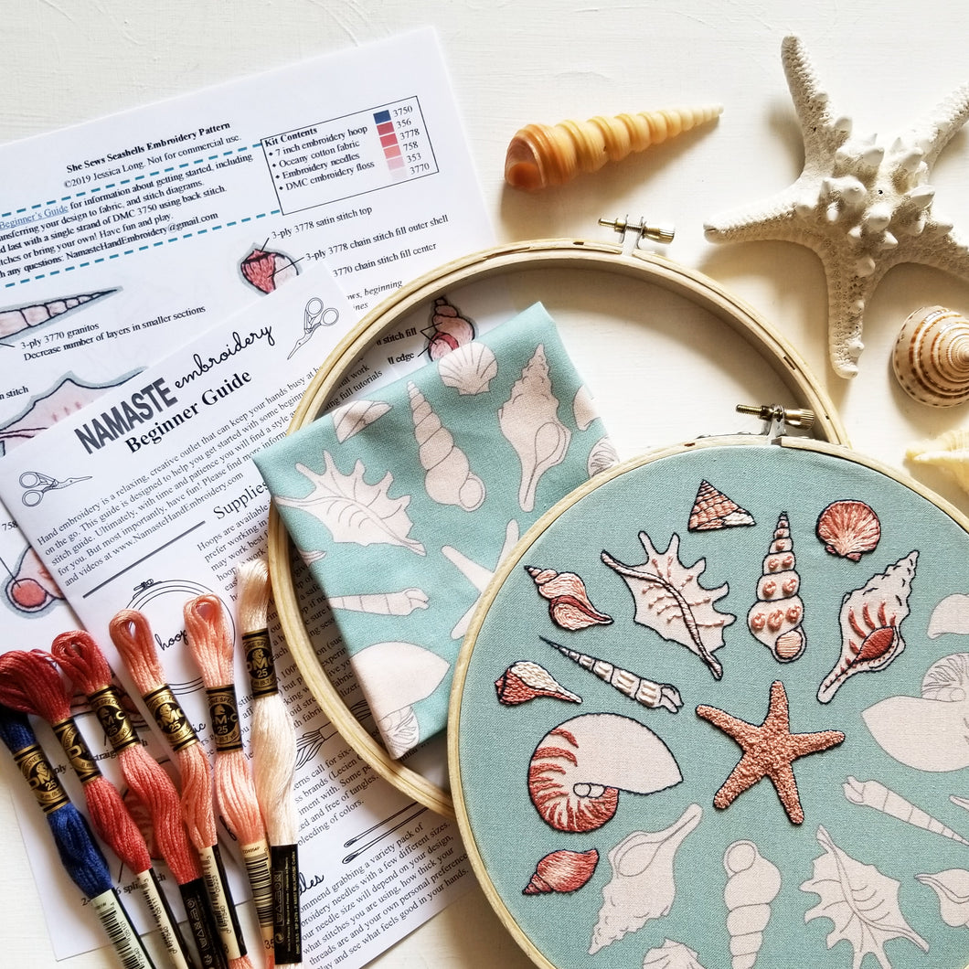 She Sews Seashells Embroidery Kit