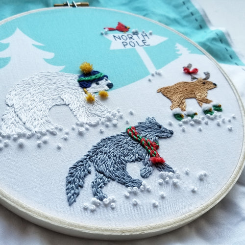 Polar Pals Hand Embroidery Pattern (PDF)