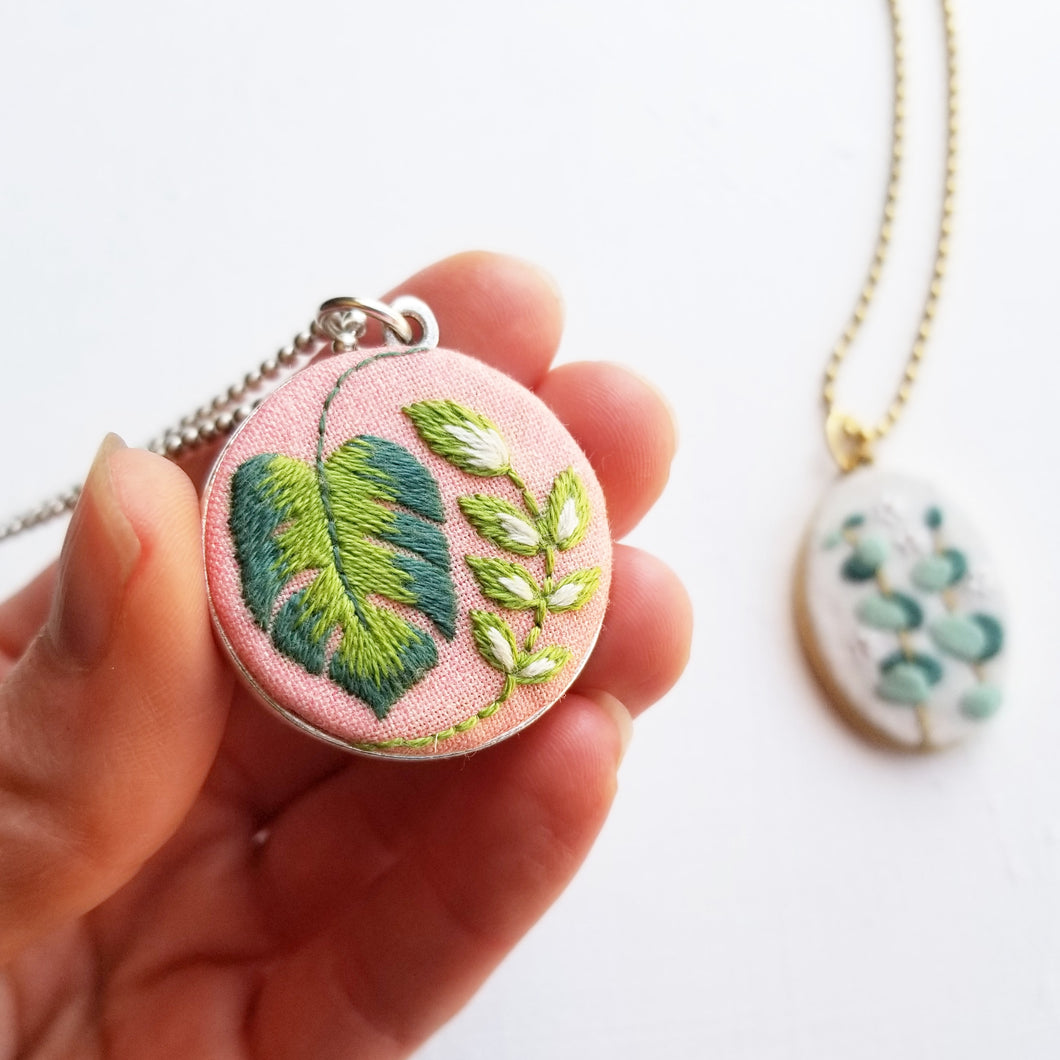 DIY Hand Embroidered Jewelry Kit: Tropical Plants