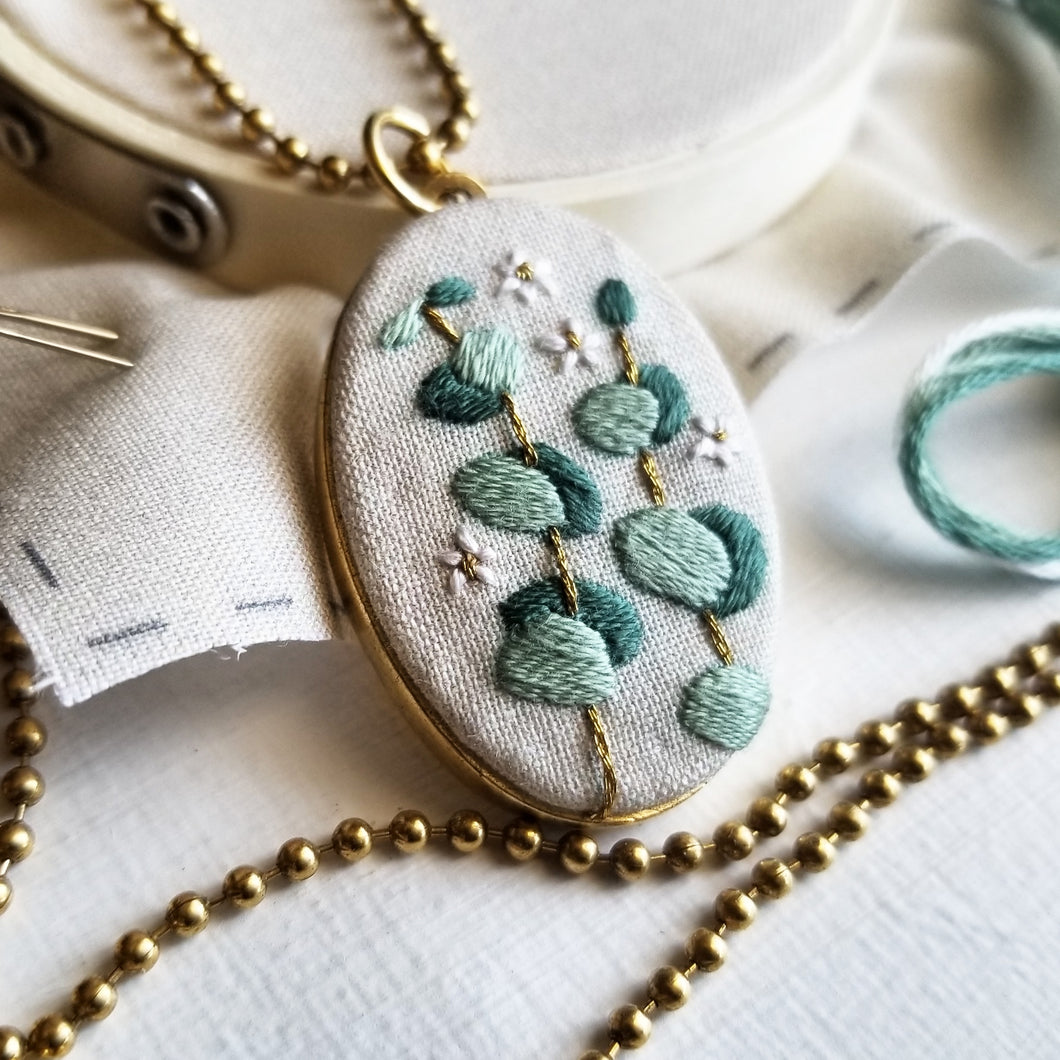 DIY Hand Embroidered Jewelry Kit: Eucalyptus