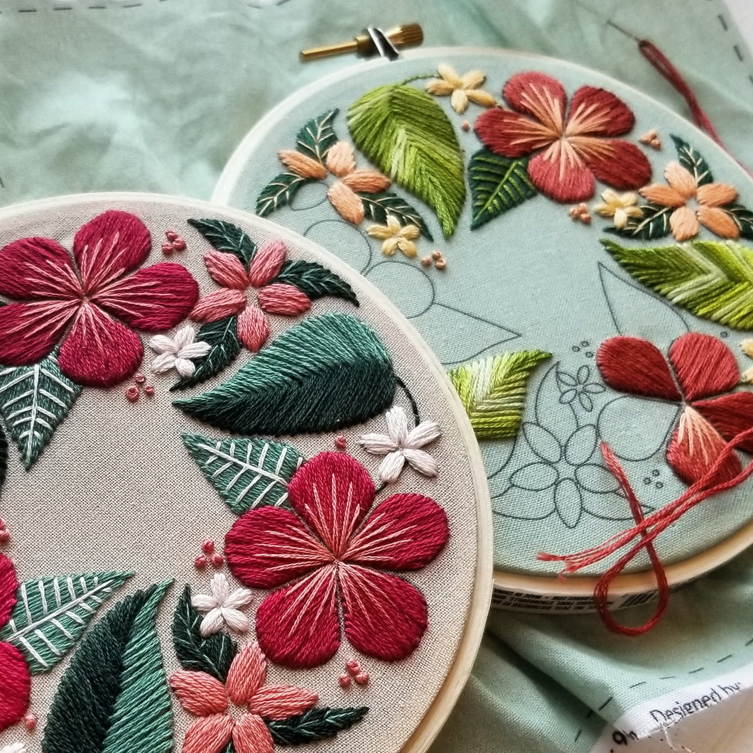 20 cm hoop Floral Embroidery craft kit with a beautiful floral pattern