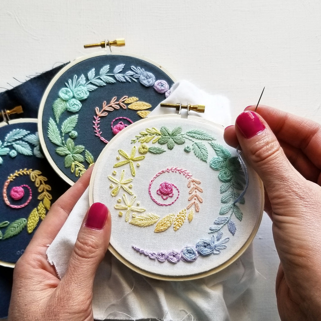 Spiral Sampler Beginner Embroidery Pattern (PDF)