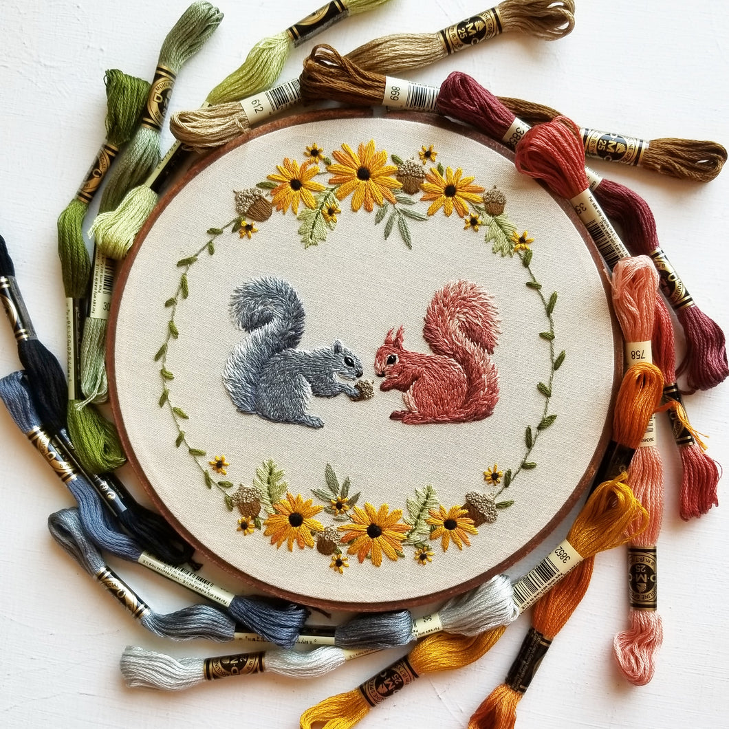 Sharing Squirrels Embroidery Kit