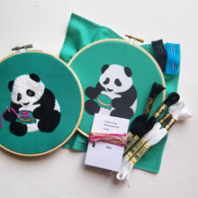 Embroidering Panda Embroidery Kit