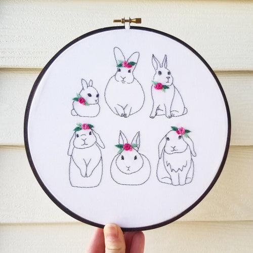 Floral Bunnies Embroidery Pattern (PDF)