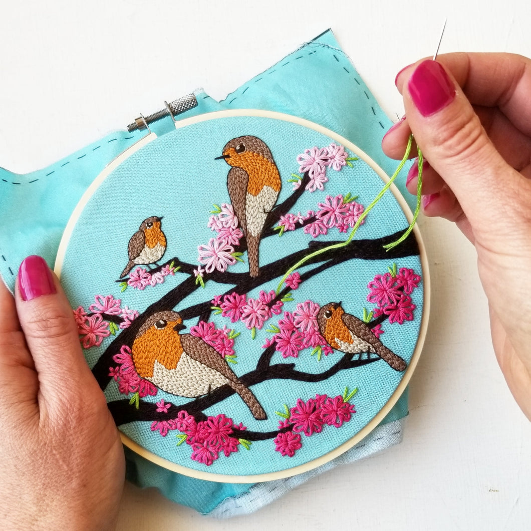 Spring Birds Embroidery Kit