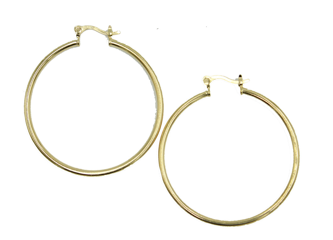 Round 1.5 inch Hoops 18K Gold Plated Hoops - Shinny Hoop Earrings 2mm Width