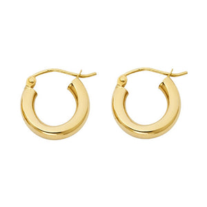 14k Yellow Gold Hoop Earrings 3mm X 15mm - 14k Gold Hoops 15mm