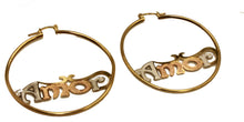 Amor Three Tone Hoops 18K Gold Plated Hoops - Amor 2 inch Hoops - 2 inch Hoops