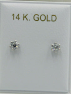3mm Clear CZ 14k Solid White Gold Bezel Stud - CZ 3mm Screw Back Baby Earring