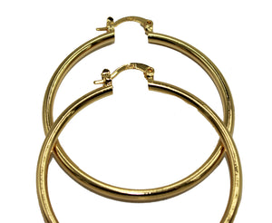 Round 2 inch Hoops 18K Gold Plated Hoops - Shinny Hoop Earrings 3mm Width