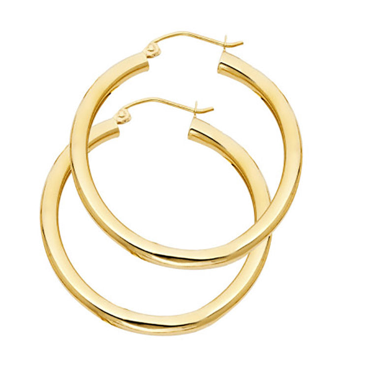 14k Yellow Gold Hoop Earrings 3mm X 30mm - 14k Gold Hoops 30mm