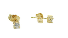 4mm Cubic Zirconia Push Back Earrings 18k Gold Plated Push Back Earring- 4mm Cz Earring