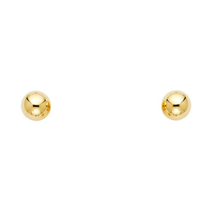 6mm Ball 14k Yellow Gold Screw Back Earrings Kids Earrings - 6mm Ball Stud