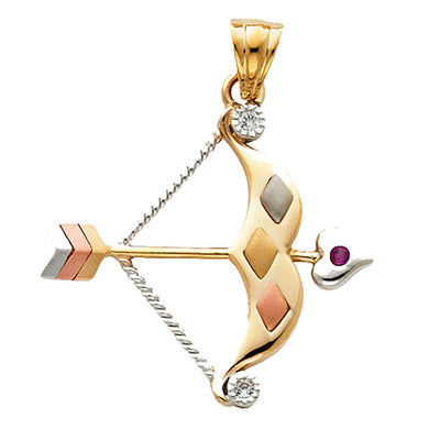 Bow and Arrow 14k Yellow Gold Pendant with CZ - Bow and Arrow 14k Gold Charm