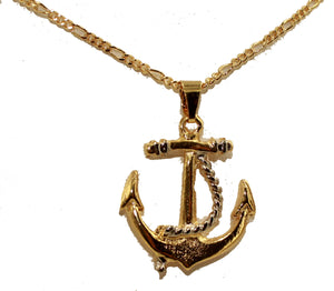 Anchor with Ropes18k Gold Plated Pendant with 22 inch Chain - Anchor Pendant