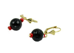 Azabache Ball 10mm Leverback Dangle Earring 18k Gold Plated French Clasp