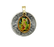 Guardian Angel Mini Medal - Angel de la Guarda Medal 18k Gold Plated Medal
