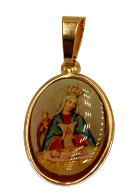 Virgen De Altagracia - Our Lady of Altagracia 18k Gold Plated Medal with 20 Inch Chain