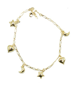 Moon and Star Anklet 18k Gold Plated 10 inch - Enchape De Oro - Moon Star Anklet