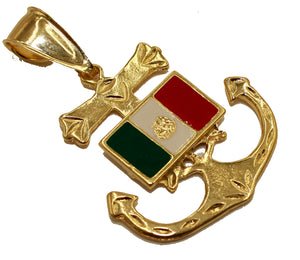Mexico Flag Anchor 18K Gold Plated Pendant with 22 inch Chain - Mexico Anchor