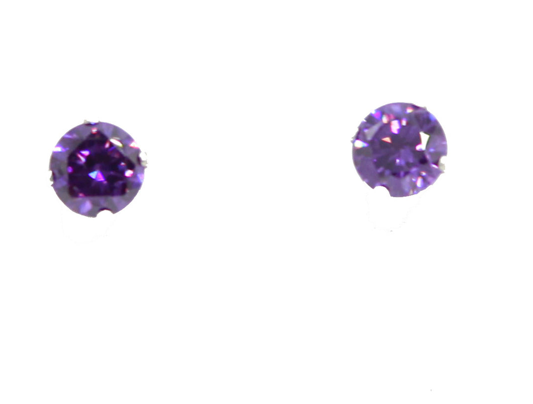 4mm Amethyst CZ Stud Earrings .925 Sterling Silver - February Birthstone
