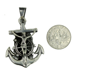 Anchor Guadalupe and Crucifix .925 Sterling Silver Mexico Taxco - Anchor Pendant
