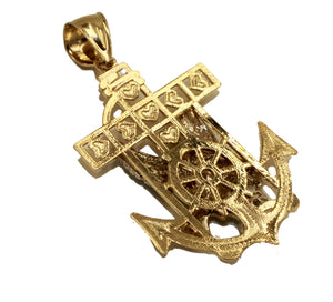 American Eagle Anchor 14k Solid Yellow Gold Pendant - Eagle Anchor Gold Pendant