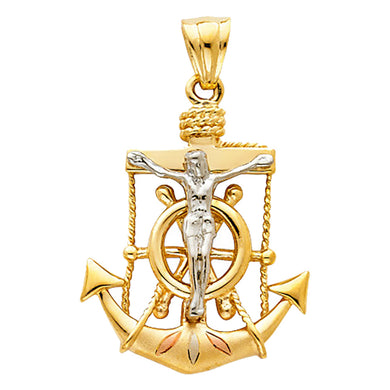 Crucifix Anchor 14k Solid Yellow Gold Pendant - Christ Anchor 14k Yellow Gold