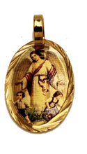 Guardian Angel Mini Medal 14k Gold Plated with 18 inch Chain  - Angel de la Guarda