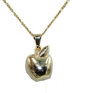 Apple Charm Pendant 18k Gold Plated with 20 inch Chain - Apple Charm Necklace