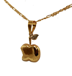 Apple Charm Pendant 18k Gold Plated with 18 Inch Chain - Apple Charm Necklace