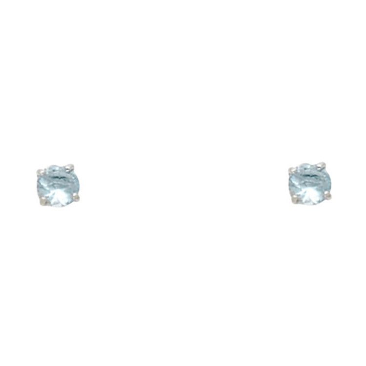 Aquamarine Blue CZ 14k White Gold Bezel - March CZ Screwback Earring