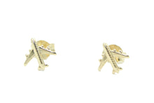 Airplane Stud 18k Gold Plated - Airplane Earring Stud 18k Gold Plated