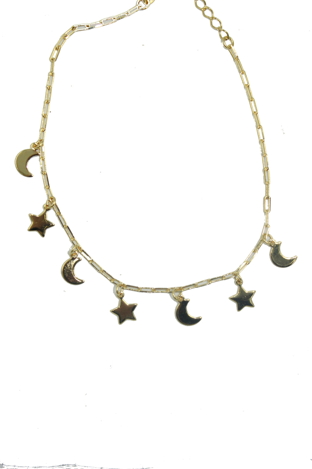 Moon and Star Anklet 18k Gold Plated 10 inch - Enchape De Oro - Star Moon Anklet