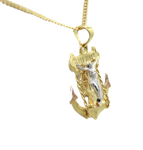 Crucifix Anchor 18k Gold Plated Pendant with 22 inch Chain - Crucifix Anchor