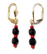Azabache Double Ball 6mm Leverback Dangle Earring 18k Gold Plated French Clasp