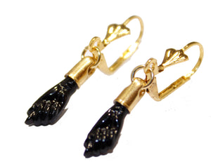 Figa Hand Azabache Dangle Earring 18k Gold Plated - Figa Azabache Dangle Earrings