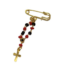 Azabache Simulated Mini Rosary Brooch Pin 18k Gold Plated Decenario Brooch