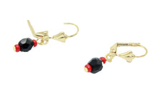 Azabache Ball 5mm Leverback Dangle Earring 18k Gold Plated French Clasp
