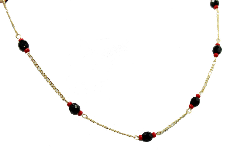 Azabache Necklace 18k Gold Plated 16 to 20 inch Chain - Azabache Collar