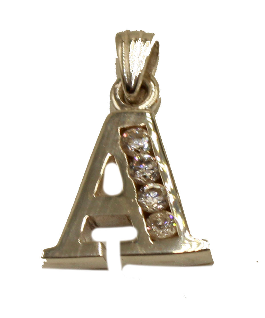 Initial Letter Charm CZ Pendant .925 Sterling Silver Gold Plated - Initials CZ