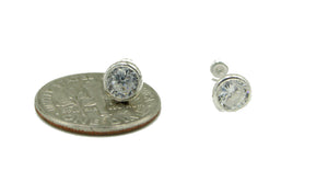 5mm Cubic Zirconia Bezel Screw Backs .925 Sterling Silver Screw Back Earrings