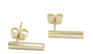 Bar Stud Earring 14k Solid Yellow Gold- Bar Stud Earrings with Butterfly Backing