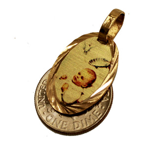 Baptism Medal 14k Gold Plated with 18 inch Chain - Bautizo Medalla