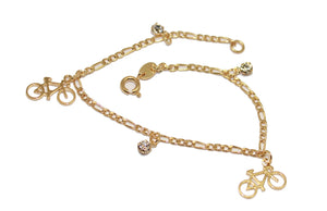 Bicycle with Rhinestone  7 inch Charm Bracelet 18k Gold Plated  - Bike Bracelet 7 inch Women Bracelet