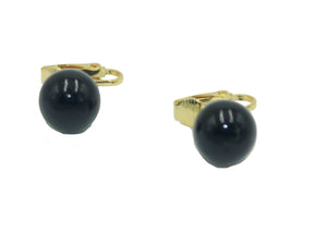 Round Black Ball Leverback Earring 18k Gold Plated Earrings Clip On Earrings