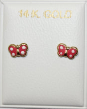 Butterfly Spotted Pink Wings 14k Yellow Gold Screw Back Earring - Red Butterfly Earring