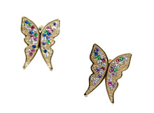Butterfly Multicolor CZ Earrings 18k Gold Plated - Mariposa Aretes