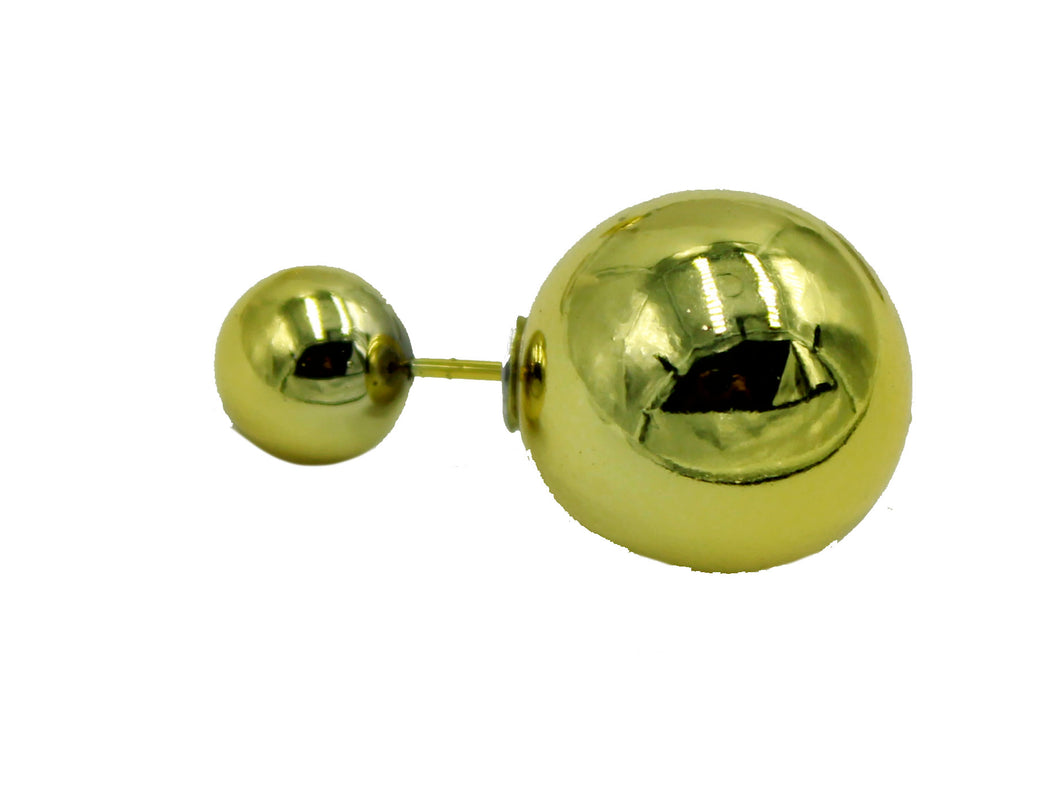 Double Ball Gold Plated Ear Stud Stainless Steel - Round Double Ball 12mm Stud